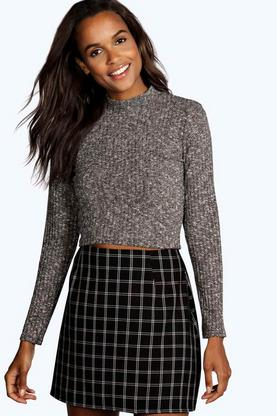 Megan Turtle Neck Long Sleeve Crop Jumper