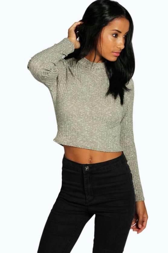 Turtle Neck Long Sleeve Crop Jumper