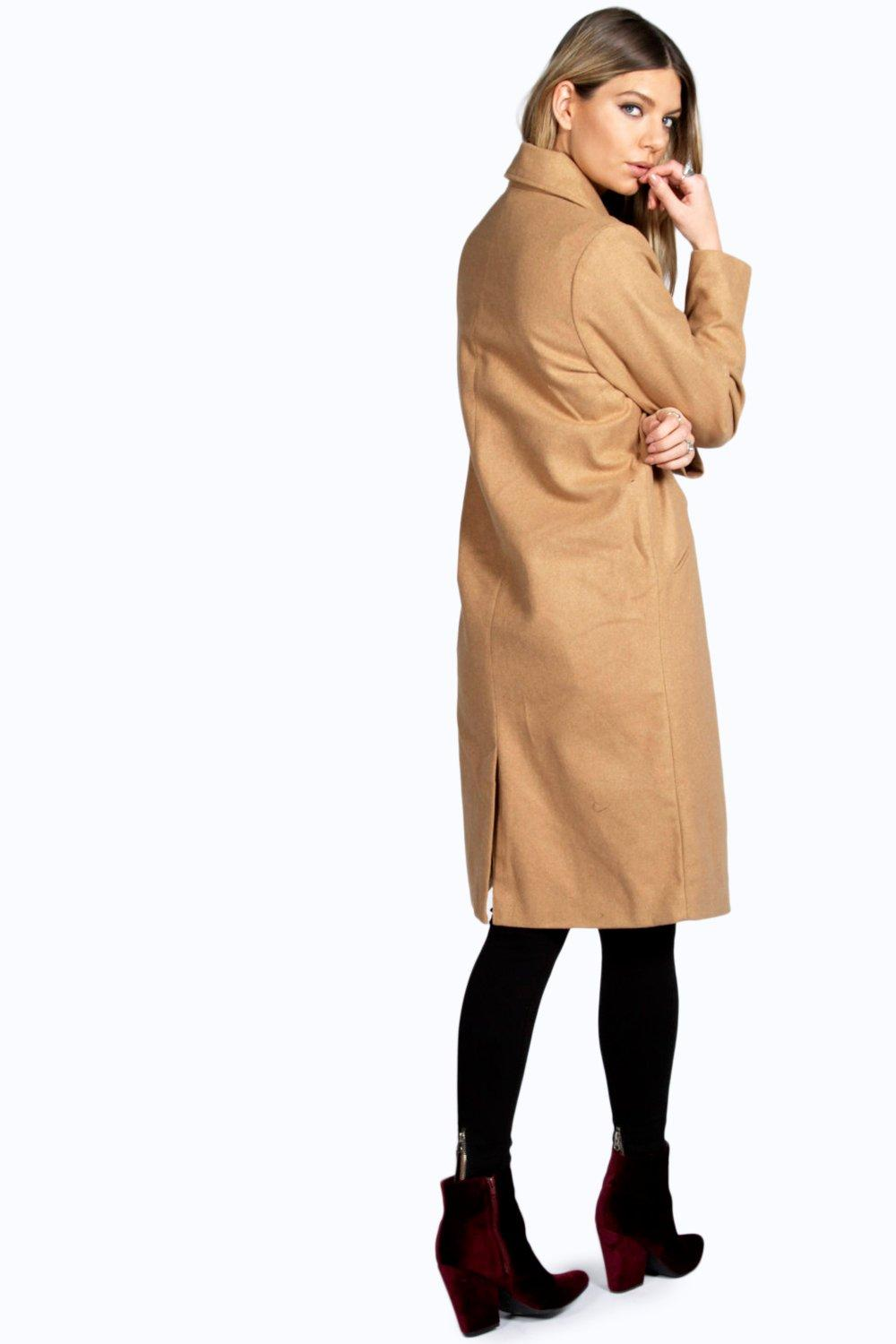 Boohoo Womens Aubree Longline Wool Look Coat