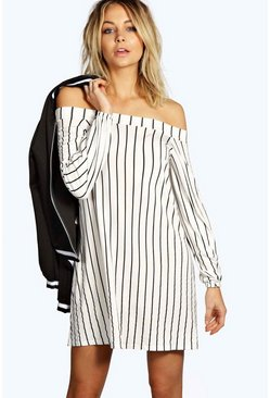 Kerrie Stripe Off The Shoulder Shift Dress