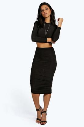 Suzi Rouched Sleeve Midi Skirt Co-Ord Set
