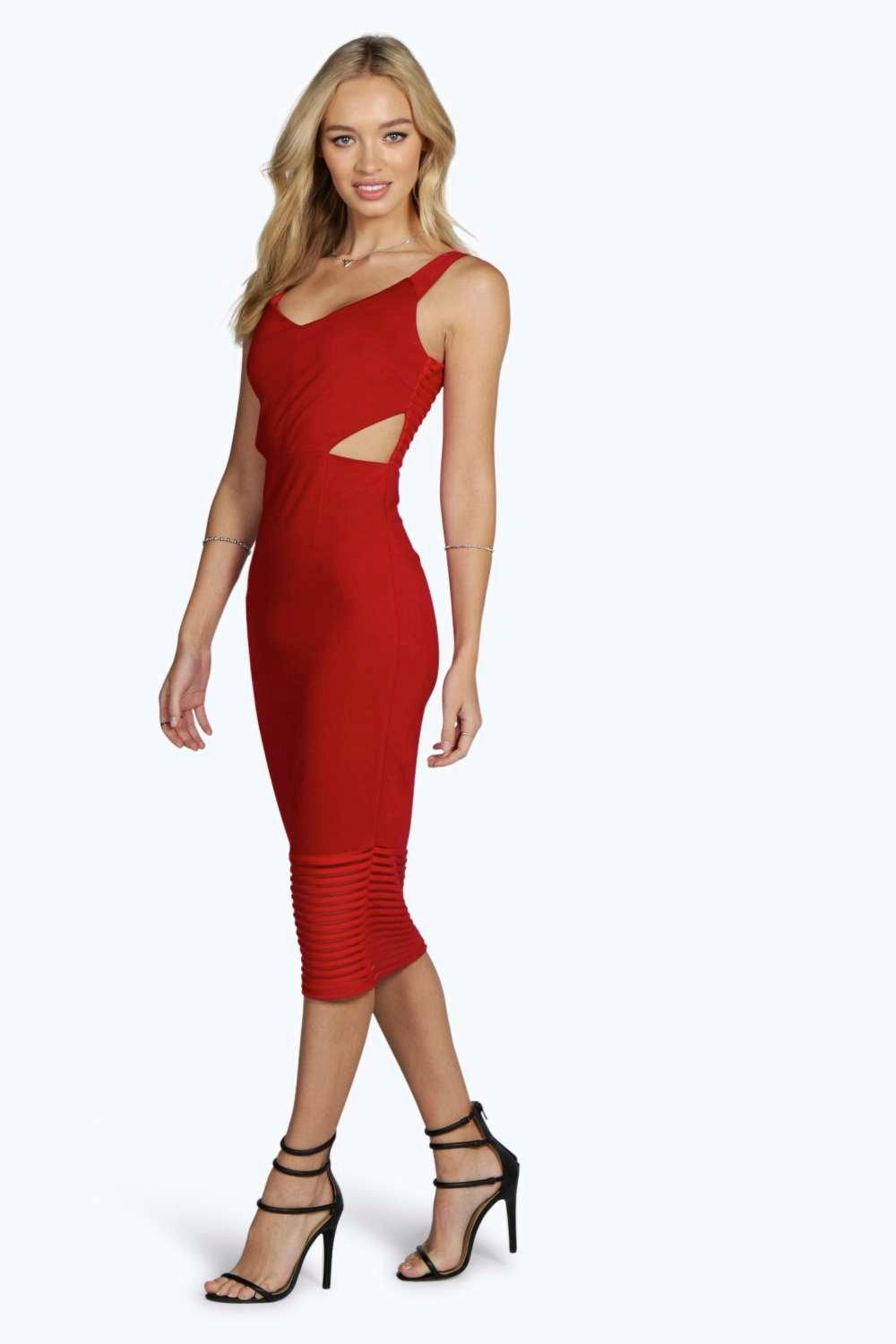Nina Mesh Panelled Cut Out Midi Bodycon Dress