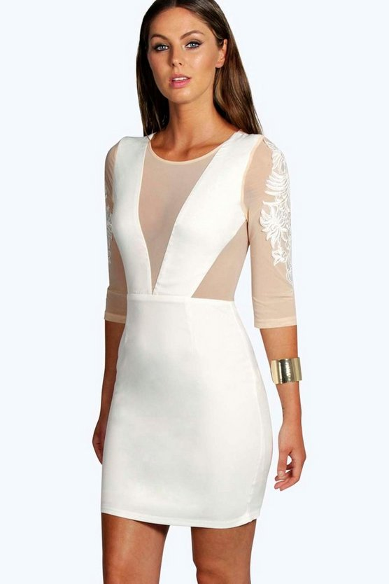 Boutique Pam Panelled Mesh Bodycon Dress