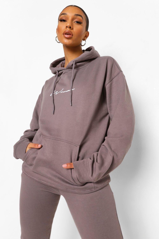 boohoo Oversized Woman Print Hoodie, Charcoal