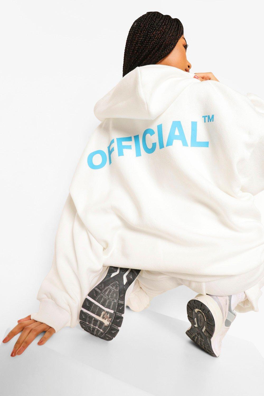 boohoo Oversized Official Hoodie Met Rits, Cream