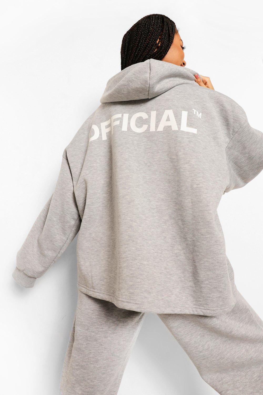 boohoo Oversized Official Hoodie Met Rits, Grey Marl
