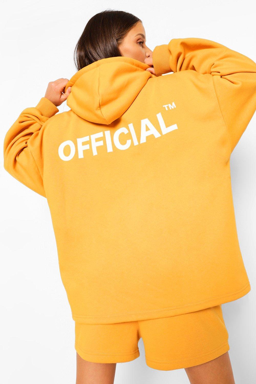 boohoo Oversized Official Hoodie Met Rits, Mustard