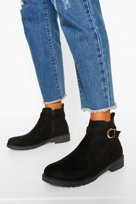 boohoo Wide Fit Chelsea Boots Met Gesp Detail