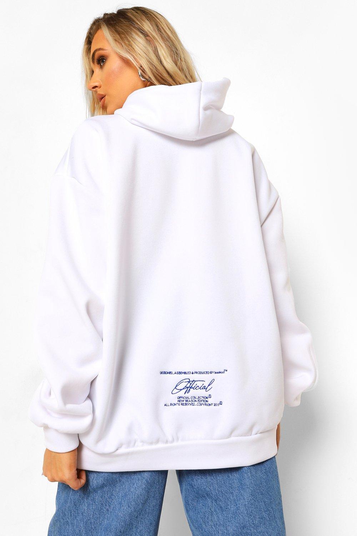 Boohoo Official Oversized Geborduurde Hoodie, White