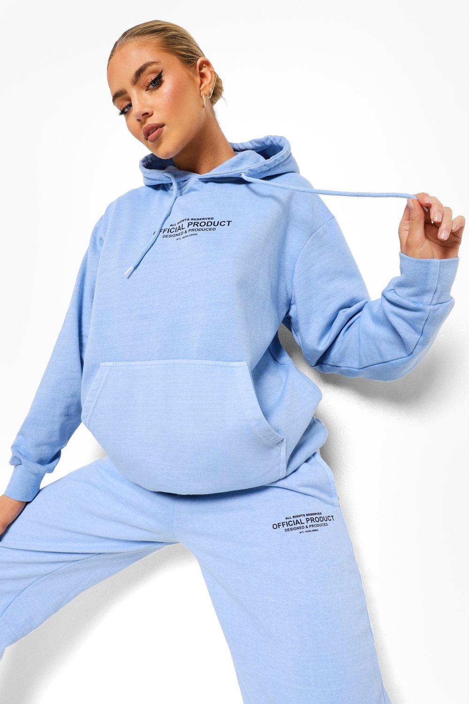 Boohoo Official Geborduurde Acid Wash Gebleekte Hoodie, Pale Blue