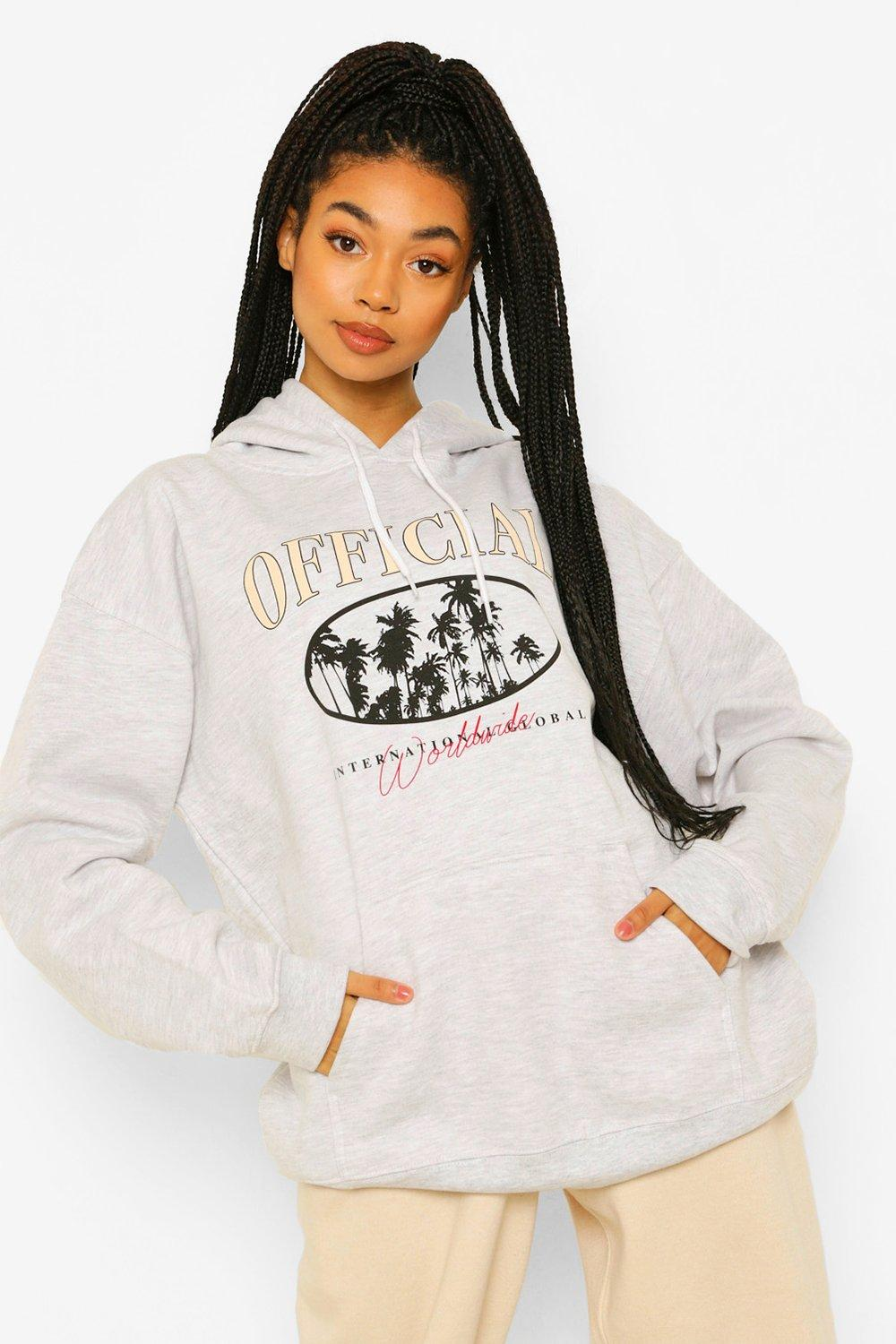 boohoo Official Palm Tree Printed Oversized Hoody, Pale Grey