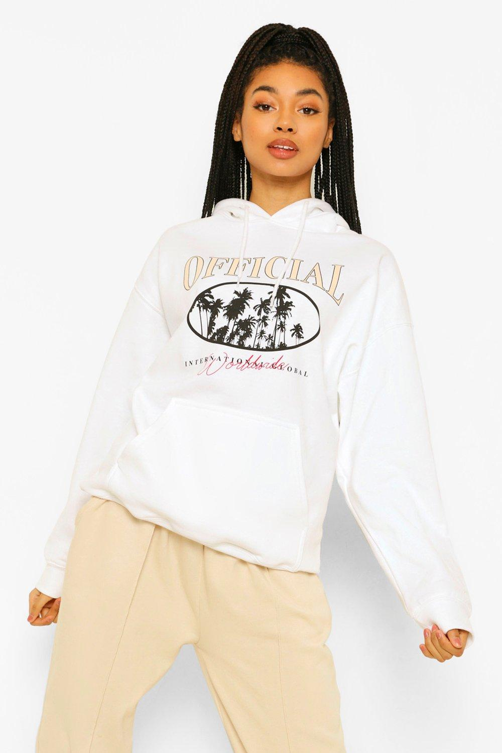 boohoo Official Palm Tree Printed Oversized Hoody, White