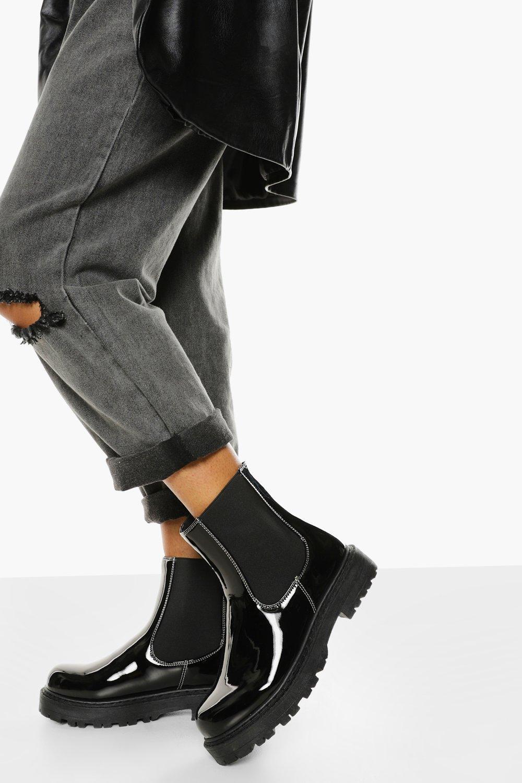 Boohoo Brede Nepleren Chelsea Boots Met Contrasterende Stiksels