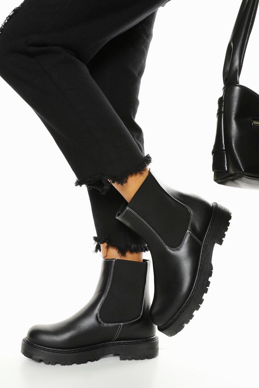 Boohoo Brede Stevige Chelsea Boots Met Contrasterende Stiksels
