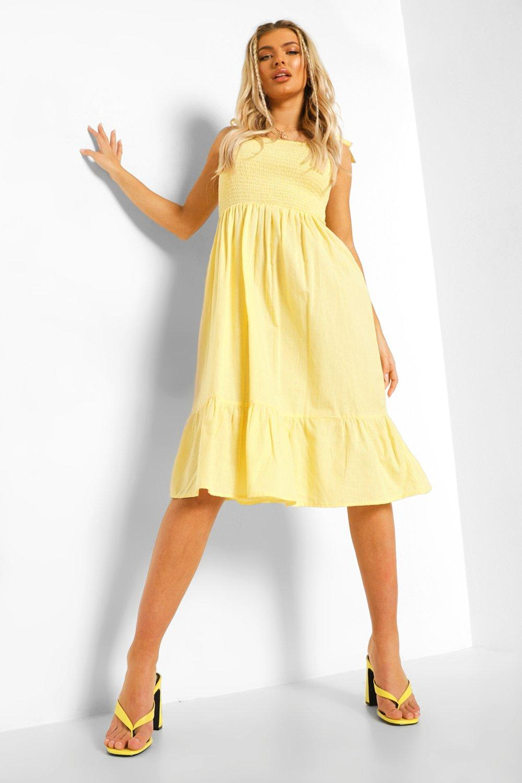 Boohoo Tie Strap Shirred Bust Cotton Midi Dress, Lemon