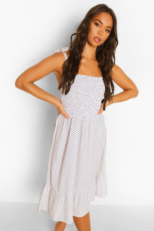 Boohoo Polka Dot Tie Strap Shirred Midi Dress