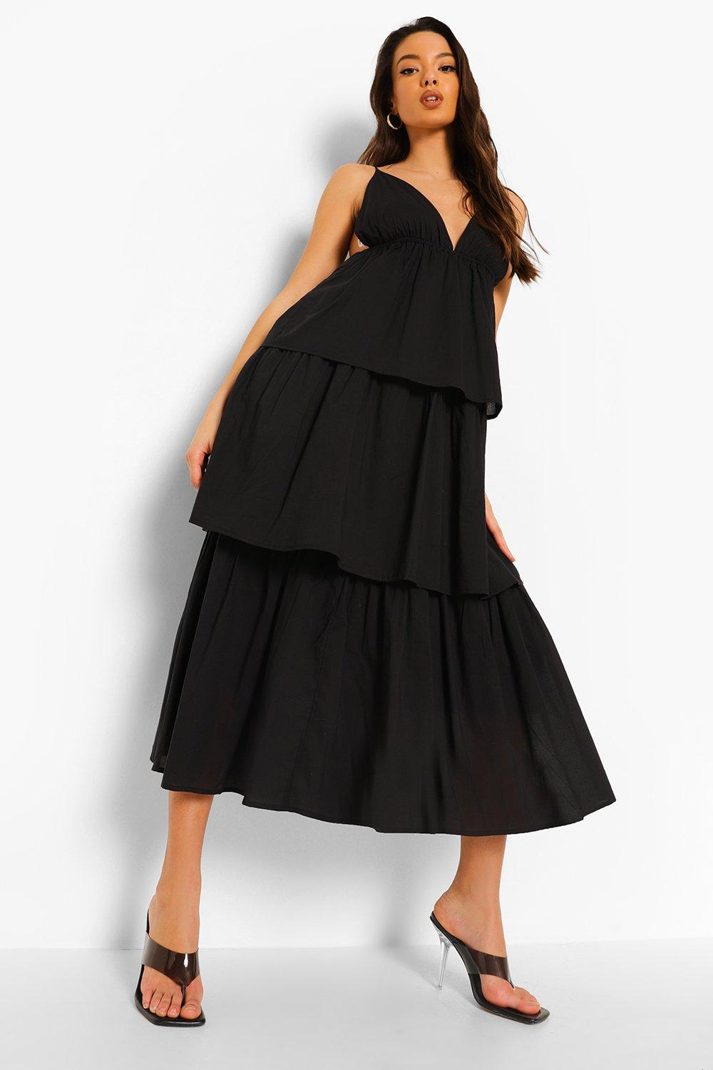 Boohoo Plunge Strappy Tiered Midaxi Dress