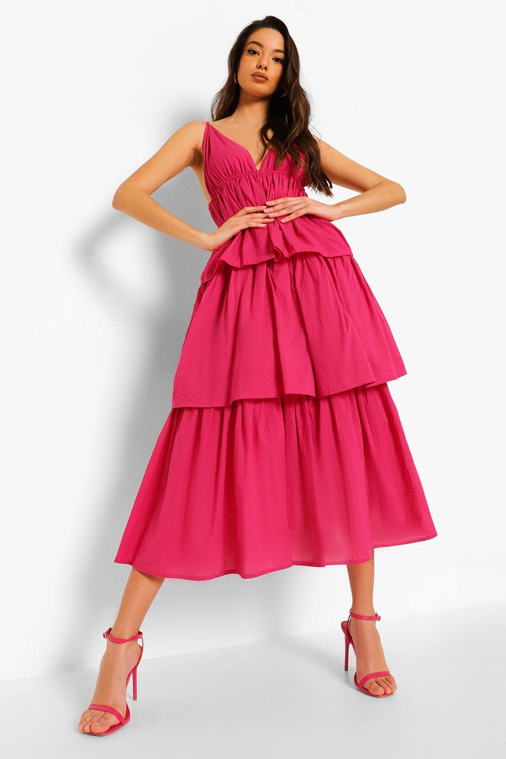 Boohoo Plunge Strappy Tiered Midaxi Dress, Hot Pink