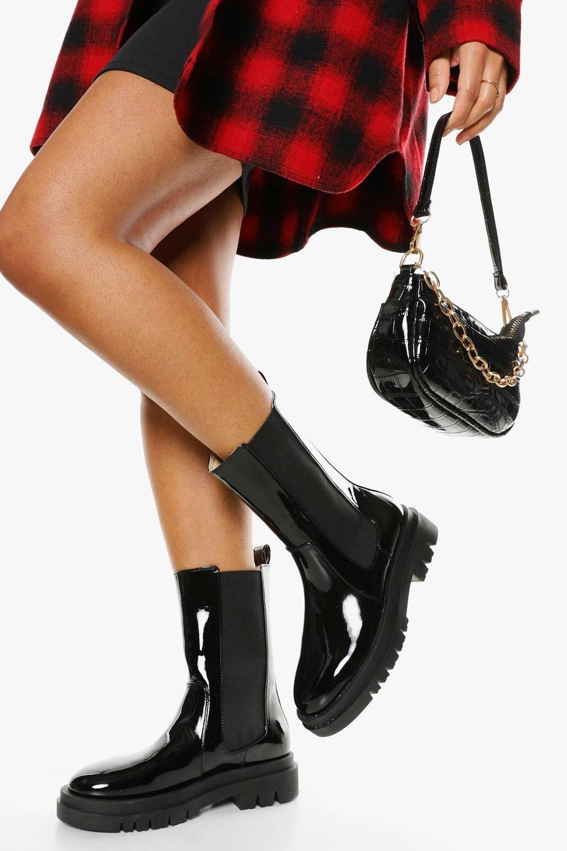Boohoo Brede Halfhoge Chelsea Boots Met Dikke Zool