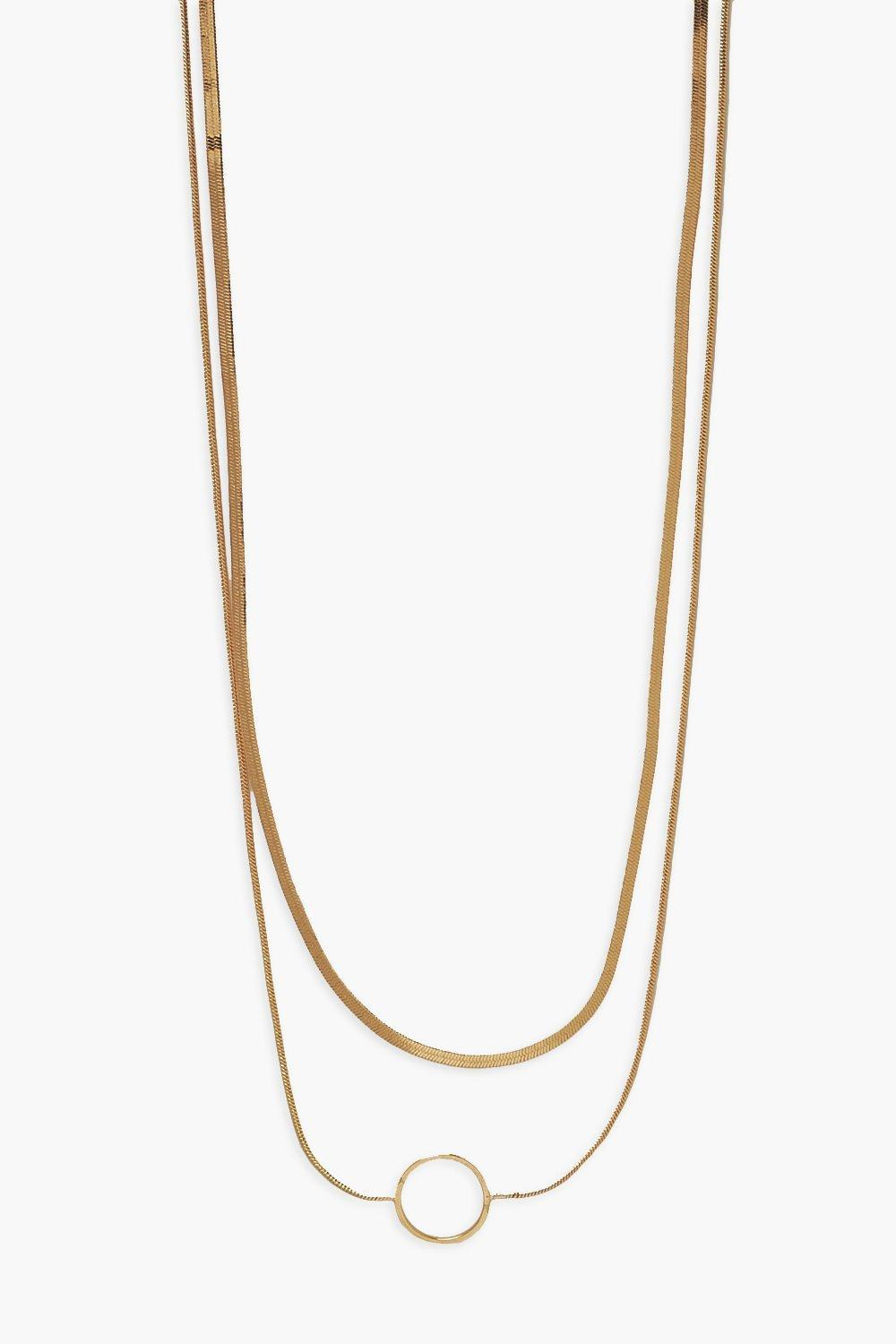 Boohoo Openwork Disc Double Layered Necklace, Gold