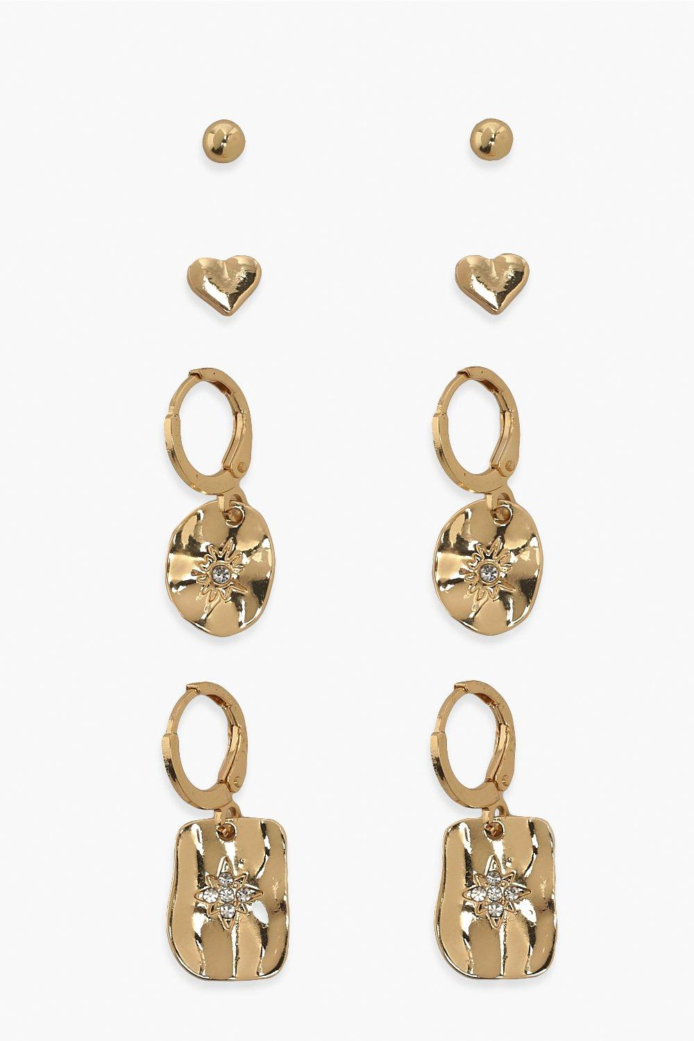 Boohoo Hearts And Star Earring Pack