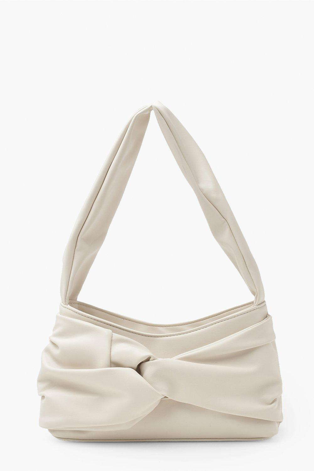 Boohoo Pu Front Knot Underarm Bag, Ivory