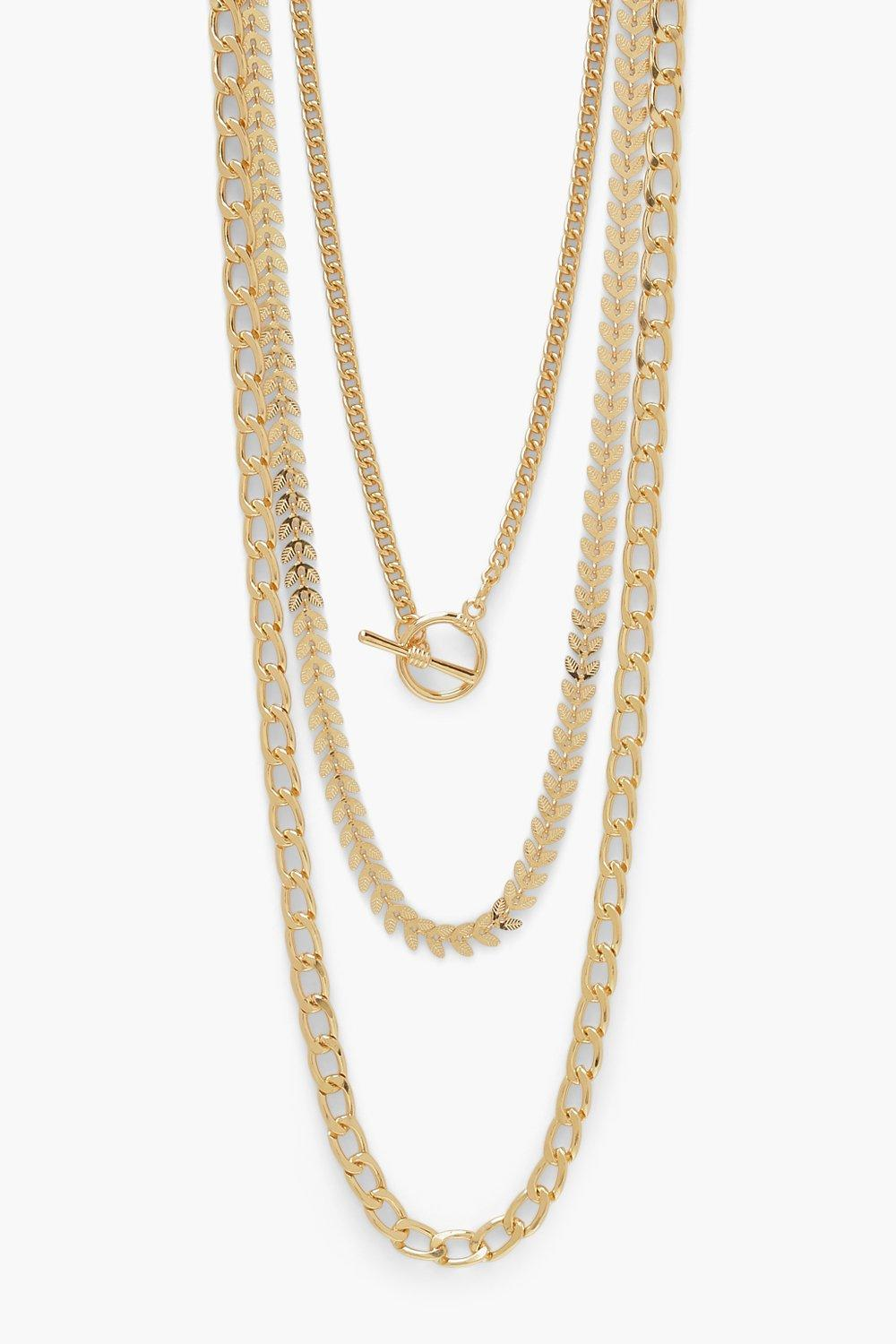 Boohoo 3 Pack T Bar Mix Chain Pack, Gold
