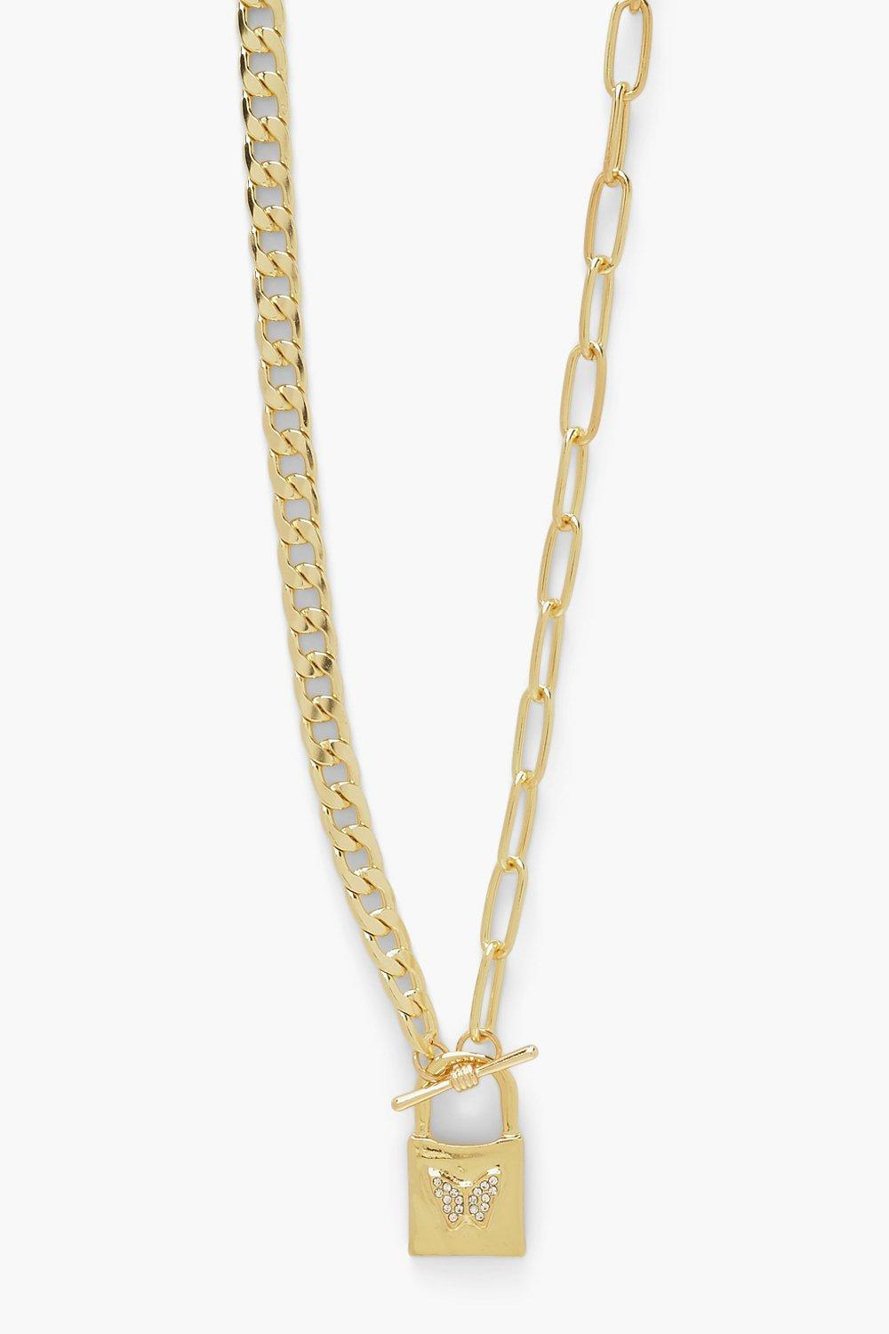 Boohoo Diamante Butterfly Lock T Bar Necklace