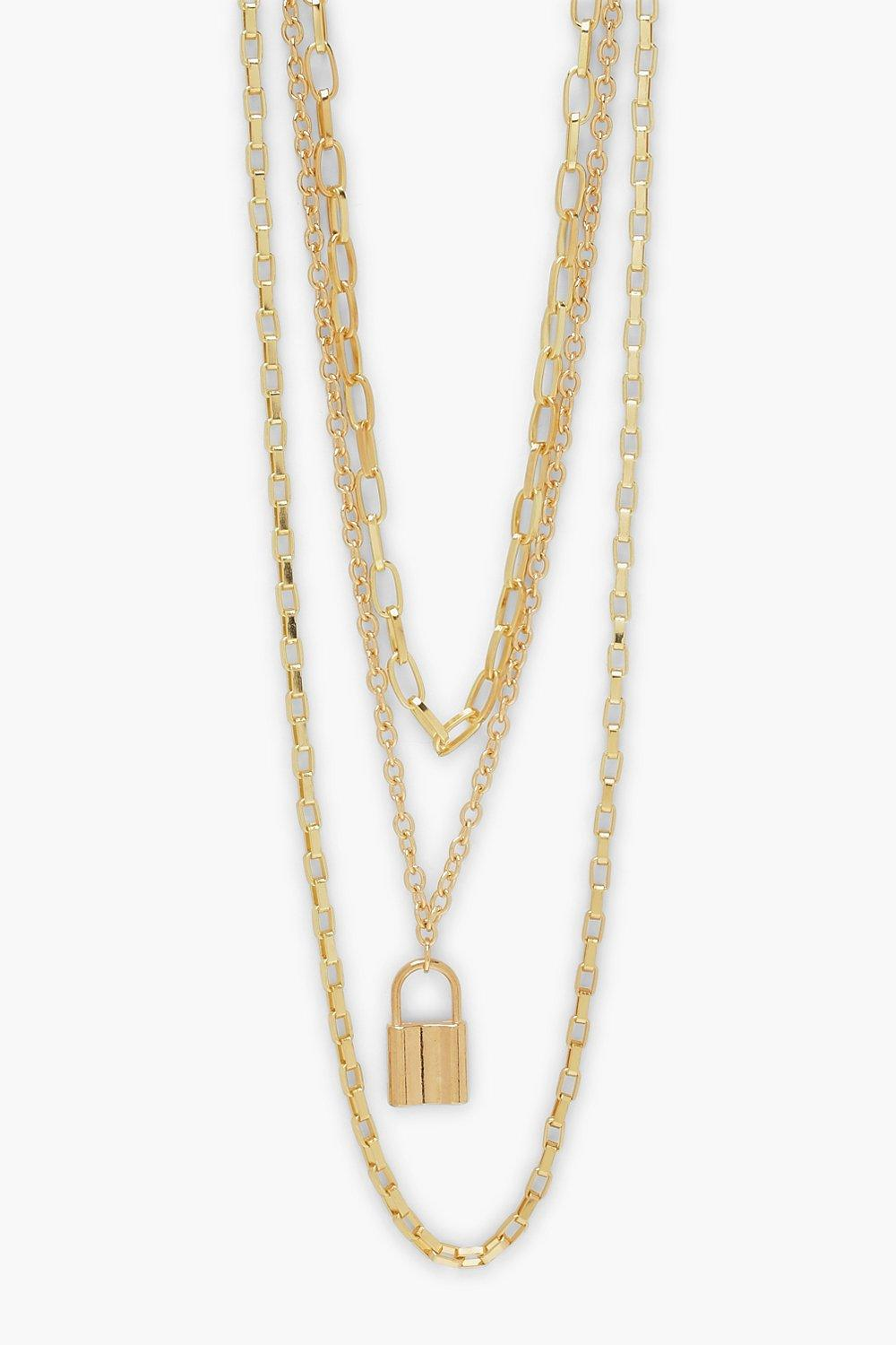 Boohoo Padlock Charm Layered Necklace, Gold
