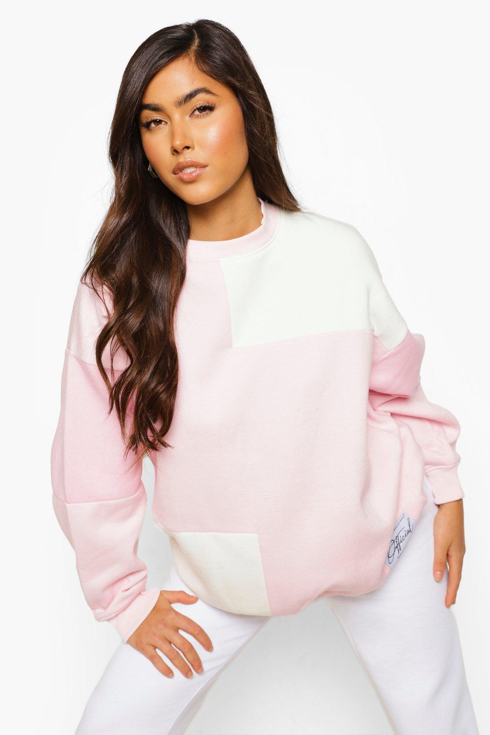 Womens Pinkfarbener Pullover Mit Colorblock Und Official-Label - Rosa - M, Rosa