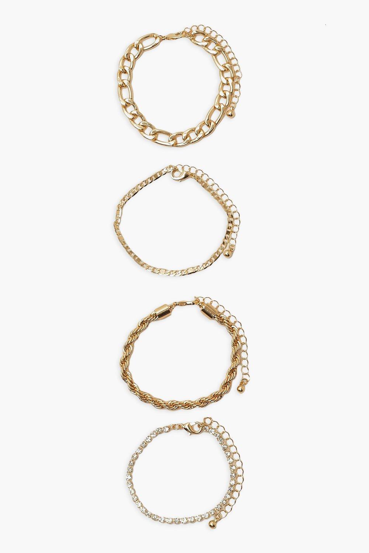 Boohoo Chain And Diamante Twist Bracelet Pack