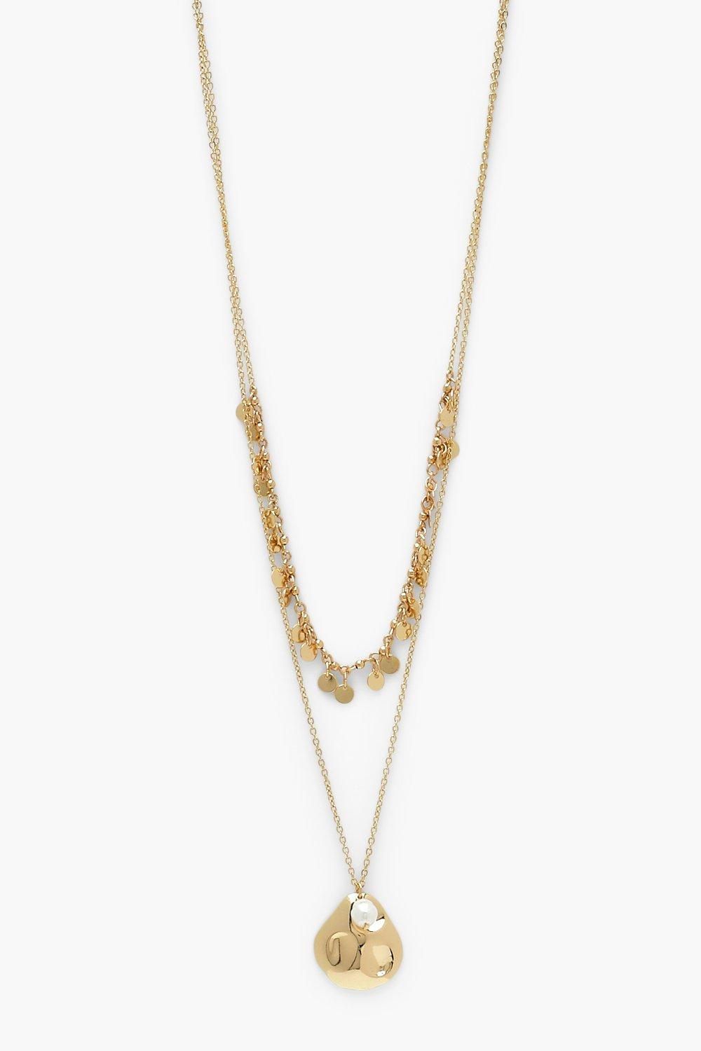 Boohoo Oyster Shell Captured Pearl Layered Necklace