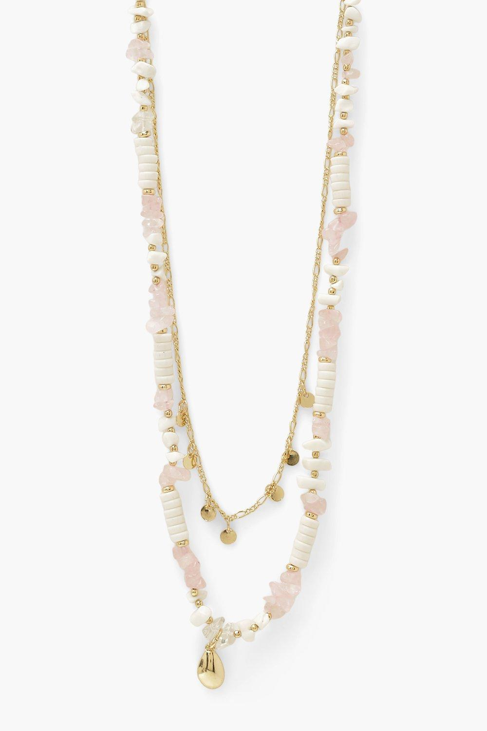 Boohoo Shell Beaded Layer Necklace, Gold