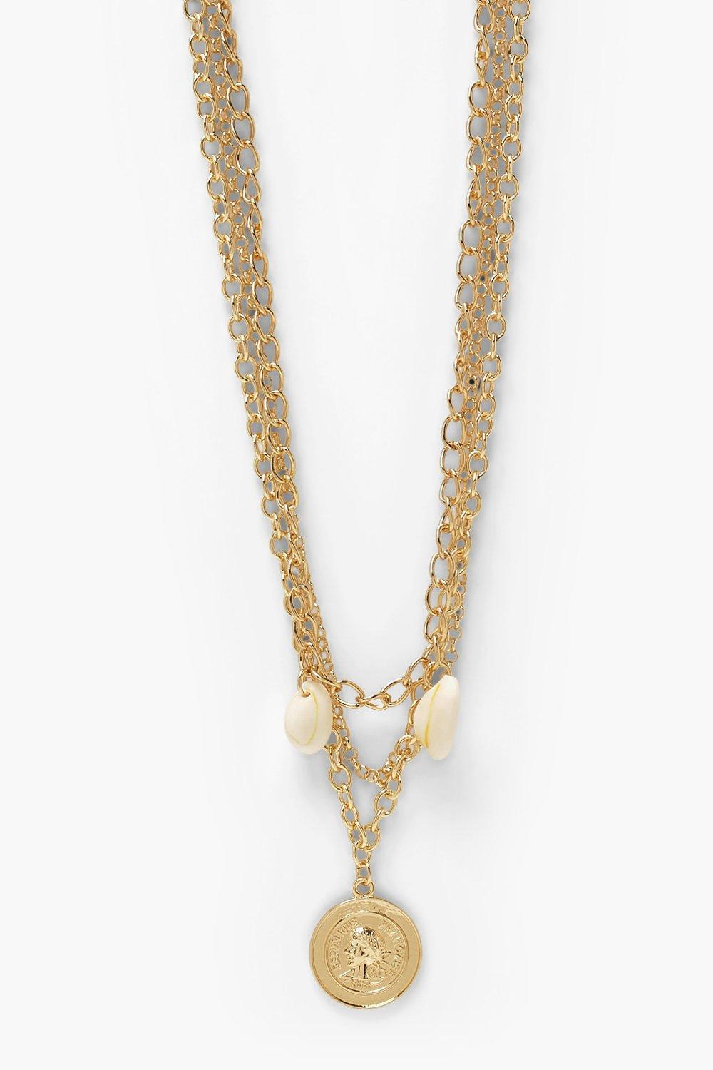 Boohoo Gold Coin And Shell Layered Necklace 3 Pack, Gold