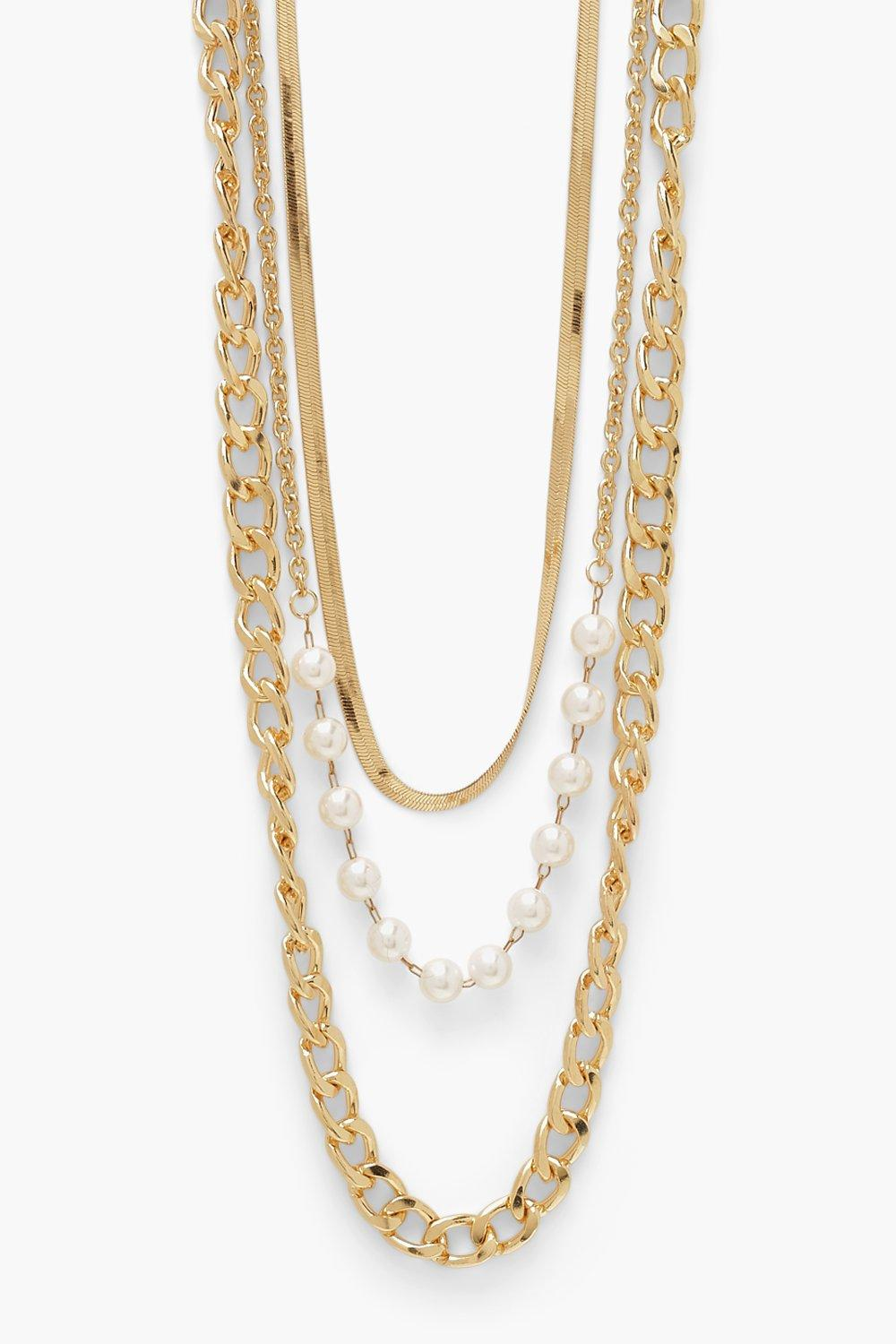 Boohoo Flat And Chunky Chain Pearl Necklace 3 Pack