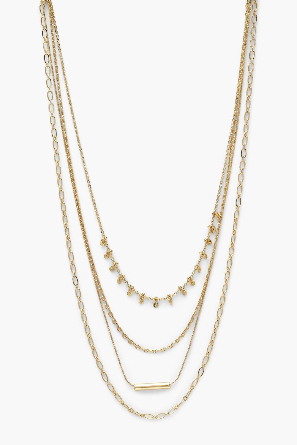 Boohoo Mini Multi Chain Layered Necklace