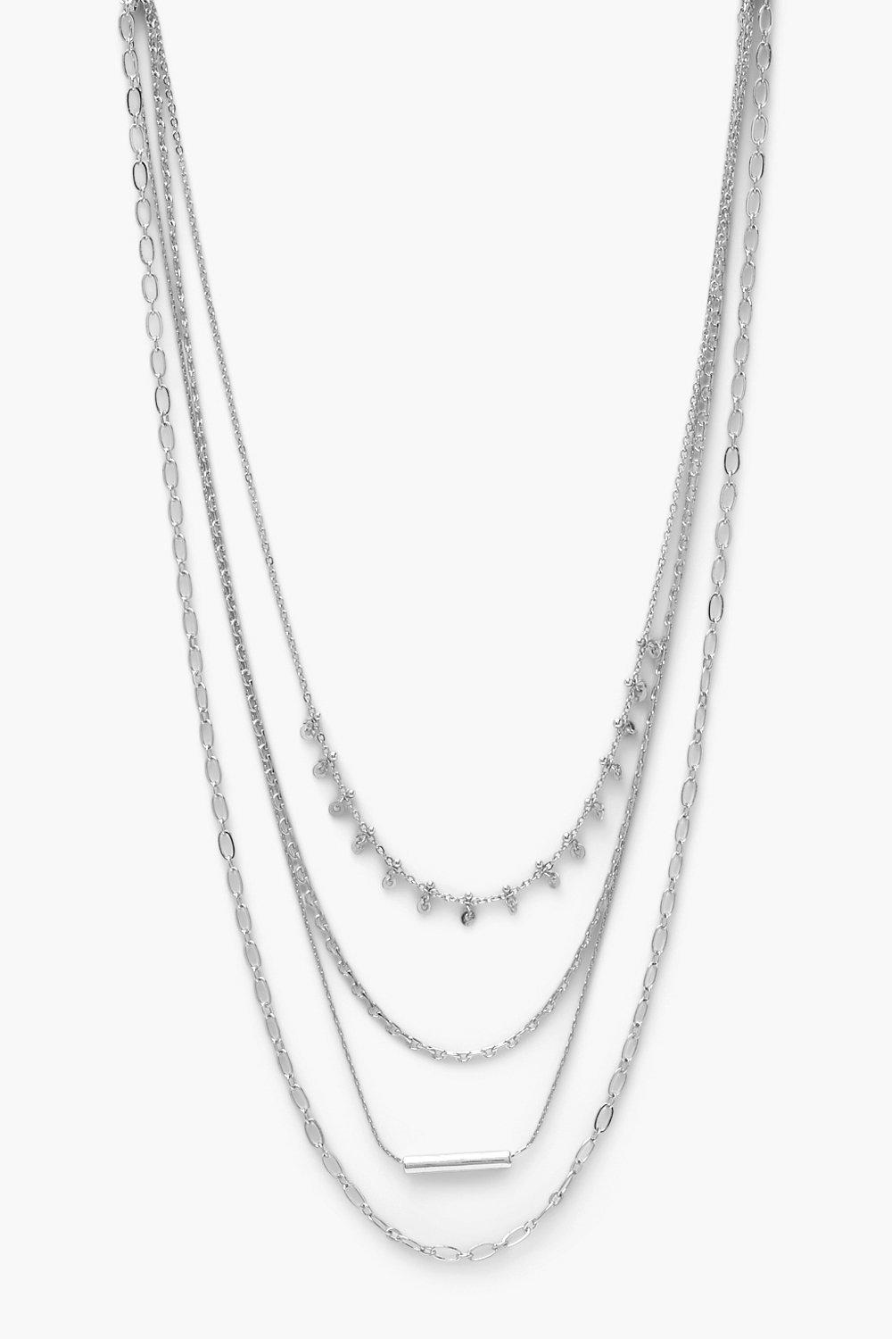 Boohoo Mini Multi Chain Layered Necklace, Silver