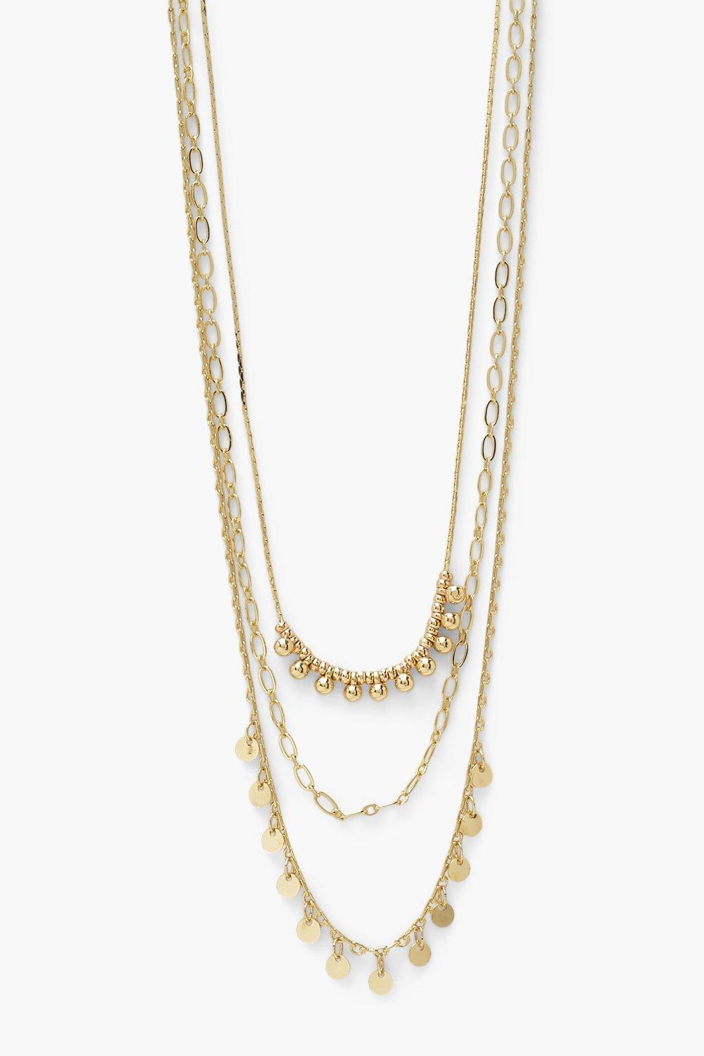 Boohoo Drop Beads And Disc Layered Necklace, Gold