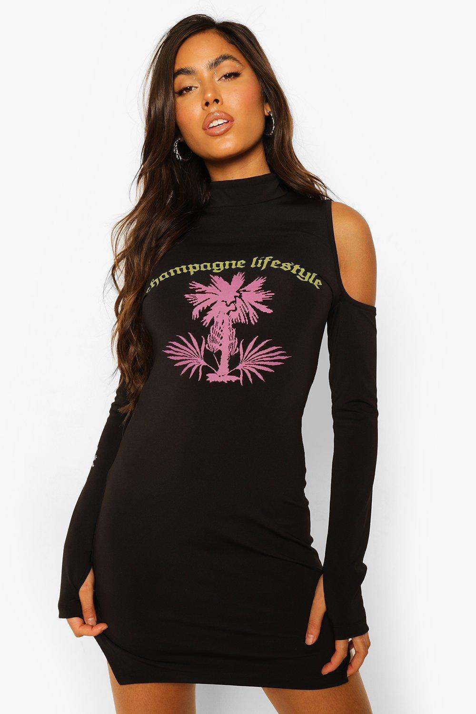 Womens Mini-Kleid Mit Cut-Out, Geteilten Ärmeln Und Grafik - Schwarz - 40, Schwarz