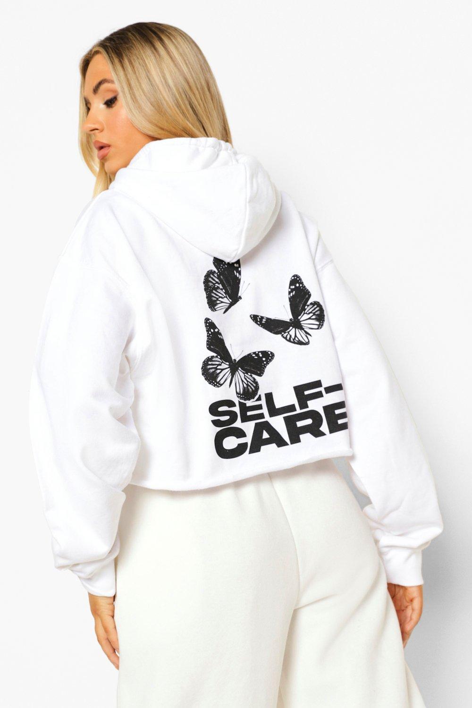 Boohoo Korte Self Care Vlinder Hoodie, White