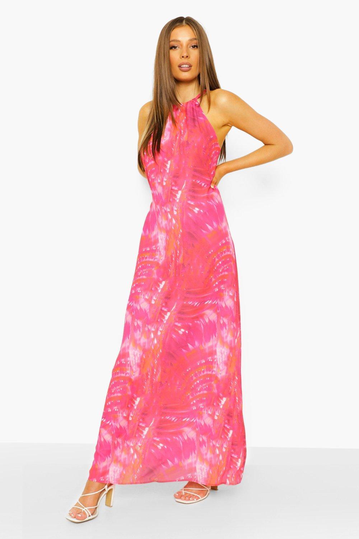 Boohoo Tie Dye Halterneck Maxi Dress