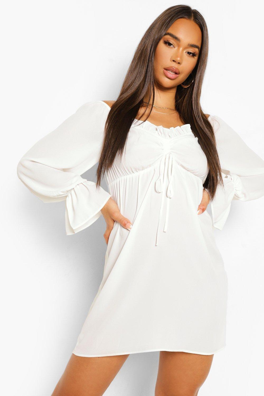 Boohoo Ruched Bardot Long Sleeve Mini Dress, White