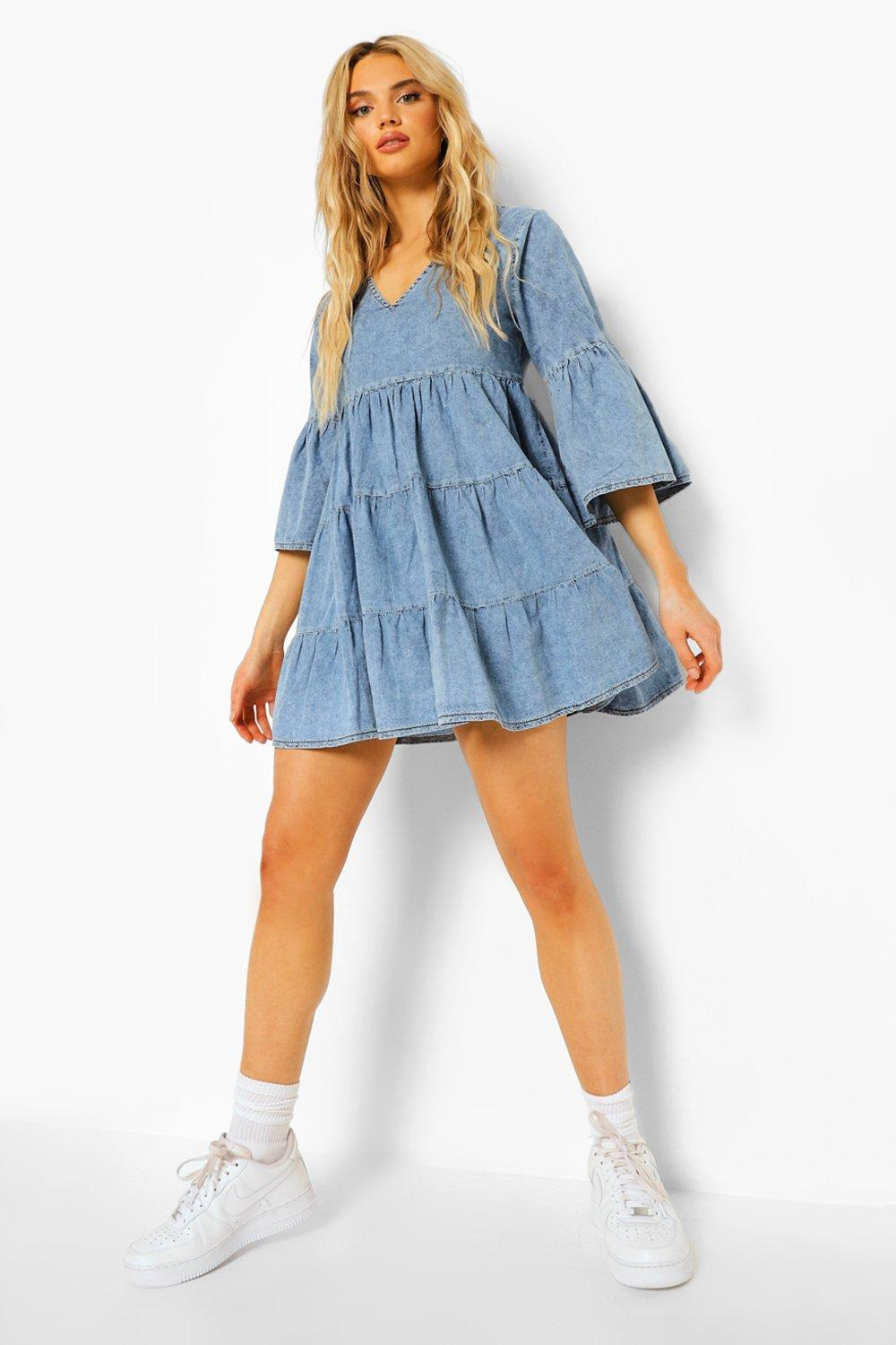 Boohoo V Front Flared Sleeve Chambray Smock Dress