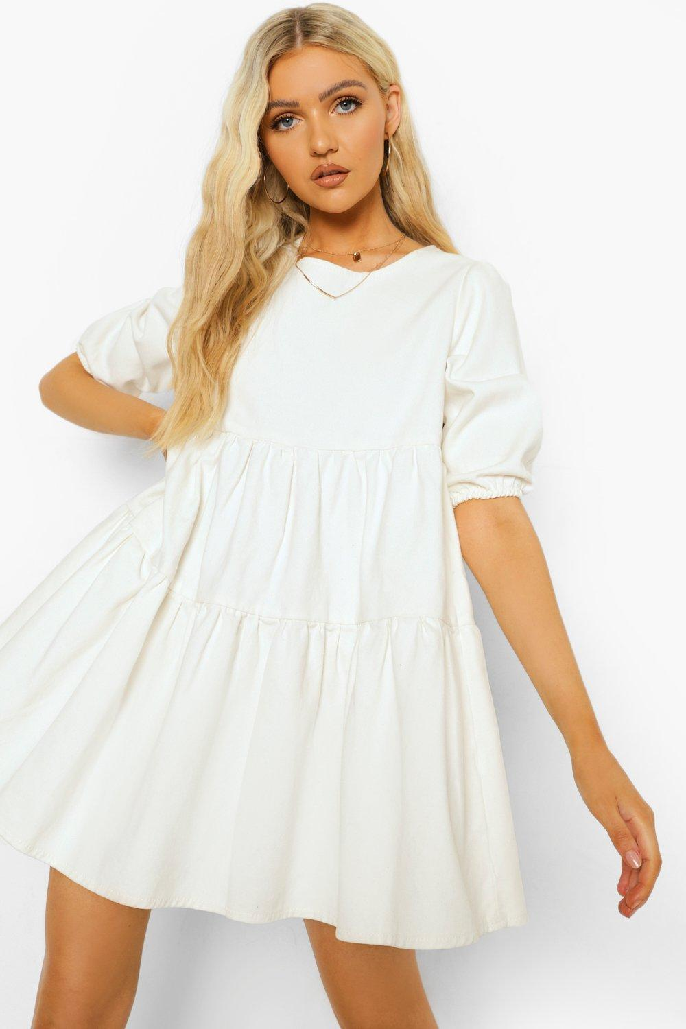 Boohoo Denim Puff Sleeve Smock Dress, Ecru