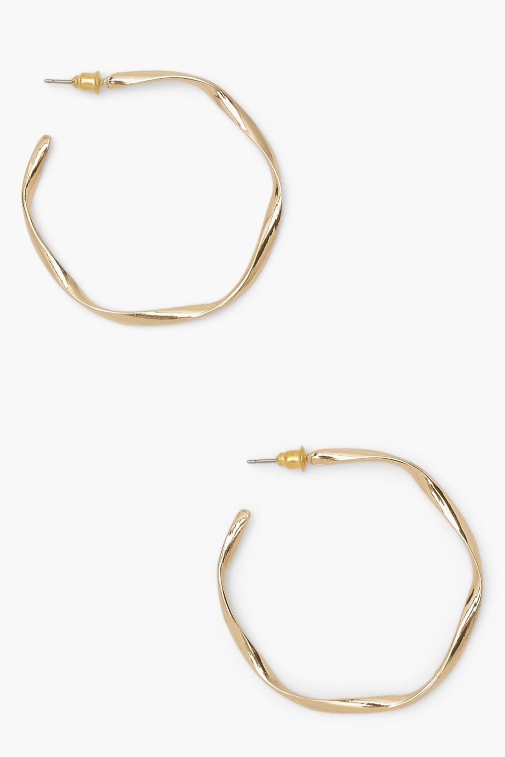 Boohoo Loose Twist Hammered Hoop Earrings