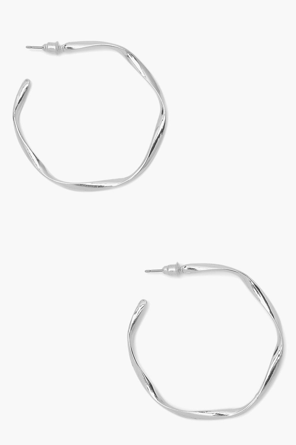 Boohoo Loose Twist Hammered Hoop Earrings, Silver