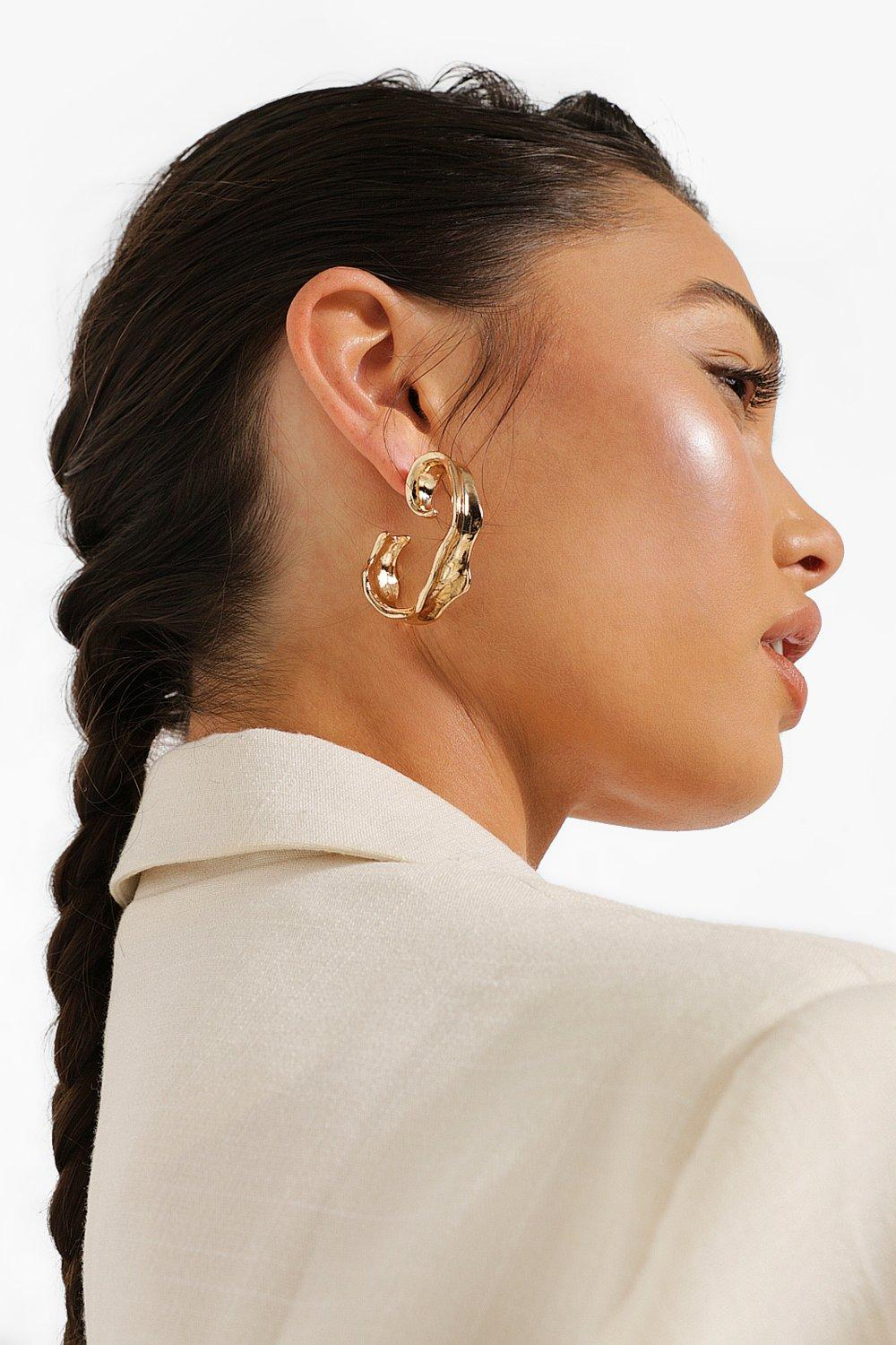 Boohoo Swirl Half Hoop Earrings