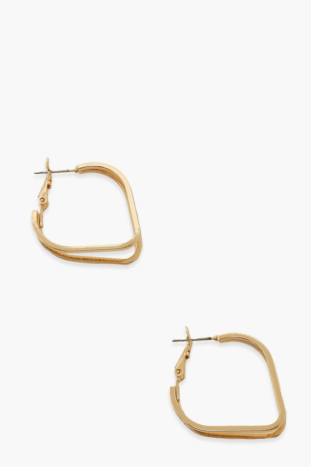 Boohoo Angled Hoop Earrings