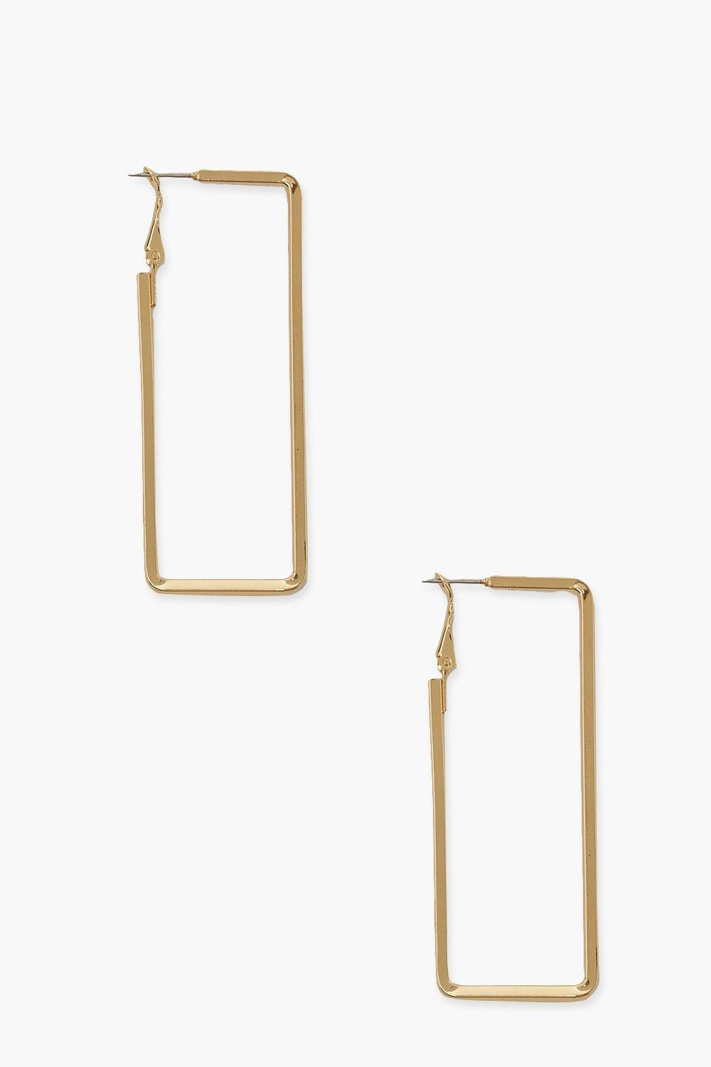 Boohoo Rectangle Smooth Hoop Earrings