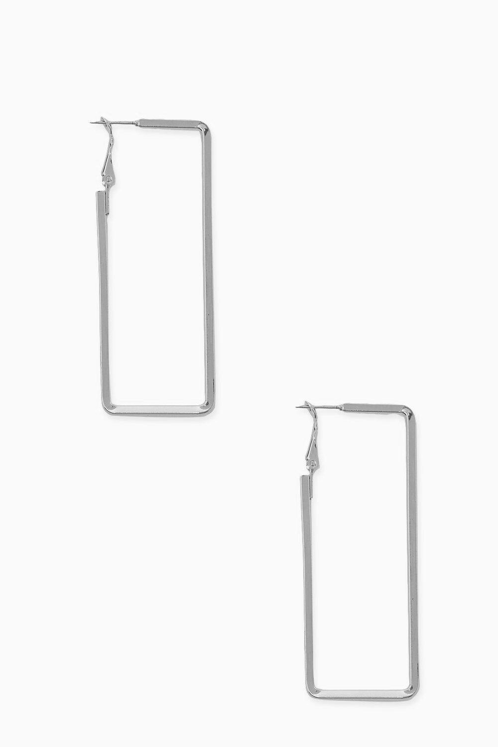 Boohoo Rectangle Smooth Hoop Earrings, Silver
